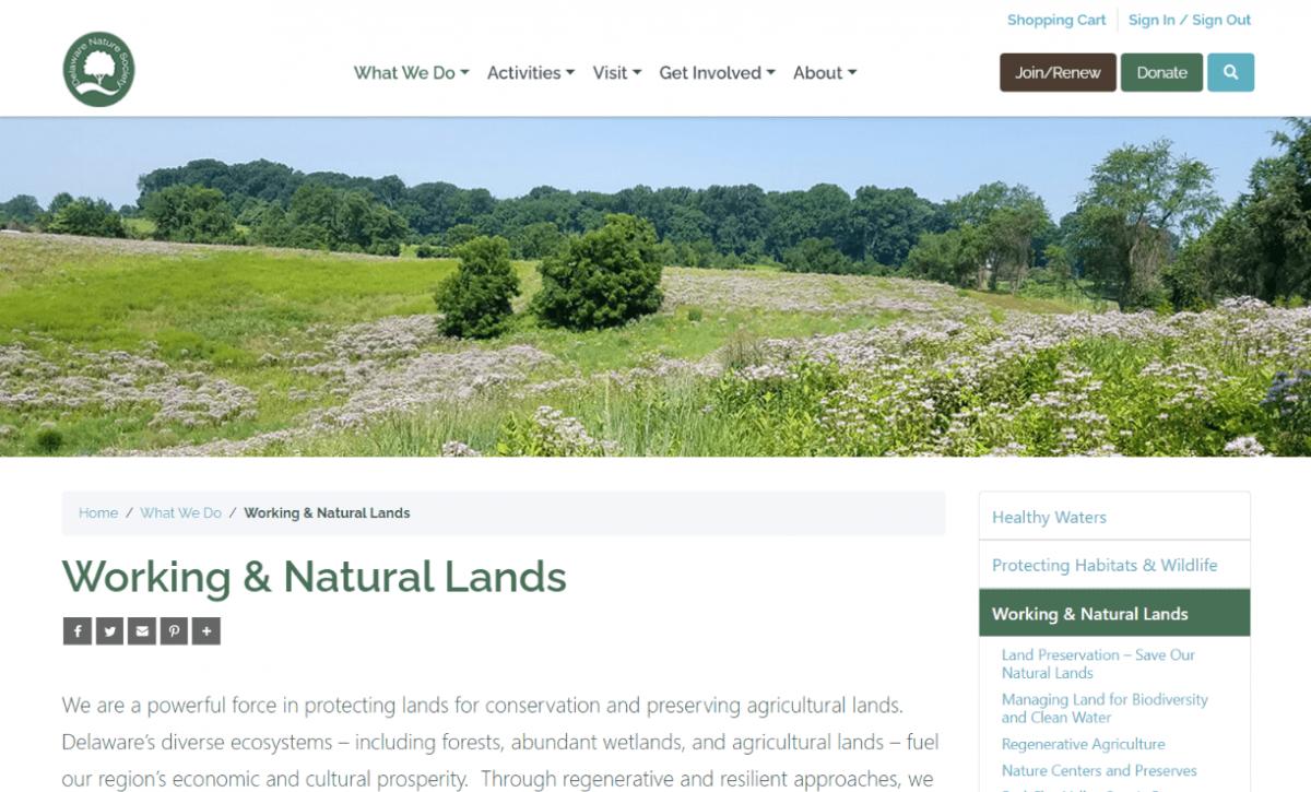 DelNature Website 2021 - Working & Natural Lands