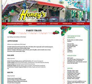 Honeys Sit 'n Eat Restaurant Website 2015